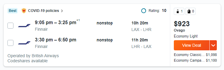 Flight Price with USA VPN