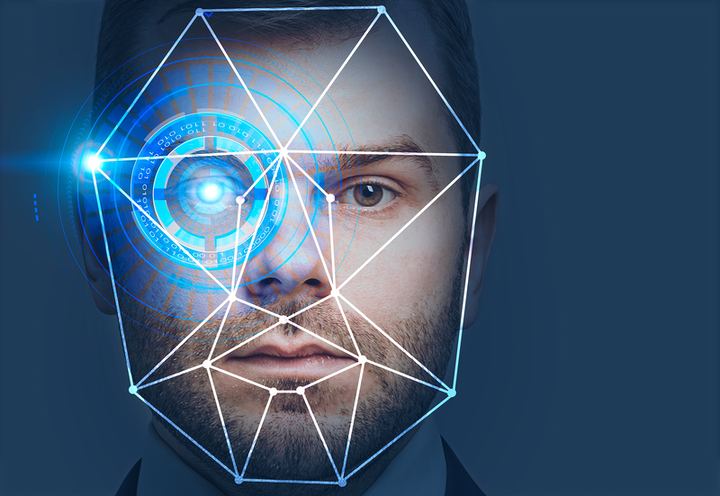 man with facial recognition
