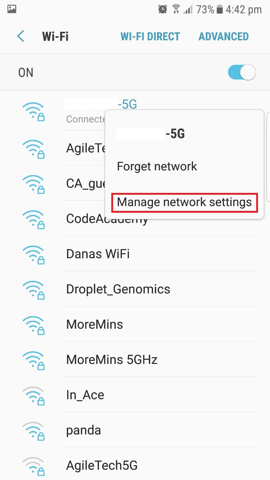 click on managed networks
