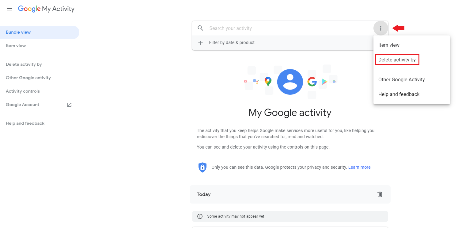 delete activity from my google activity